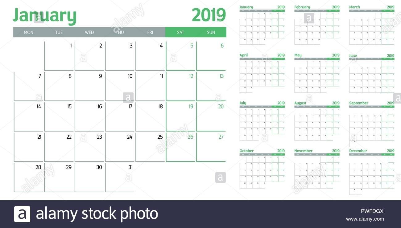 Calendar Planner 2019 Template Vector Illustration All 12 Months Calendar Week 12 2019