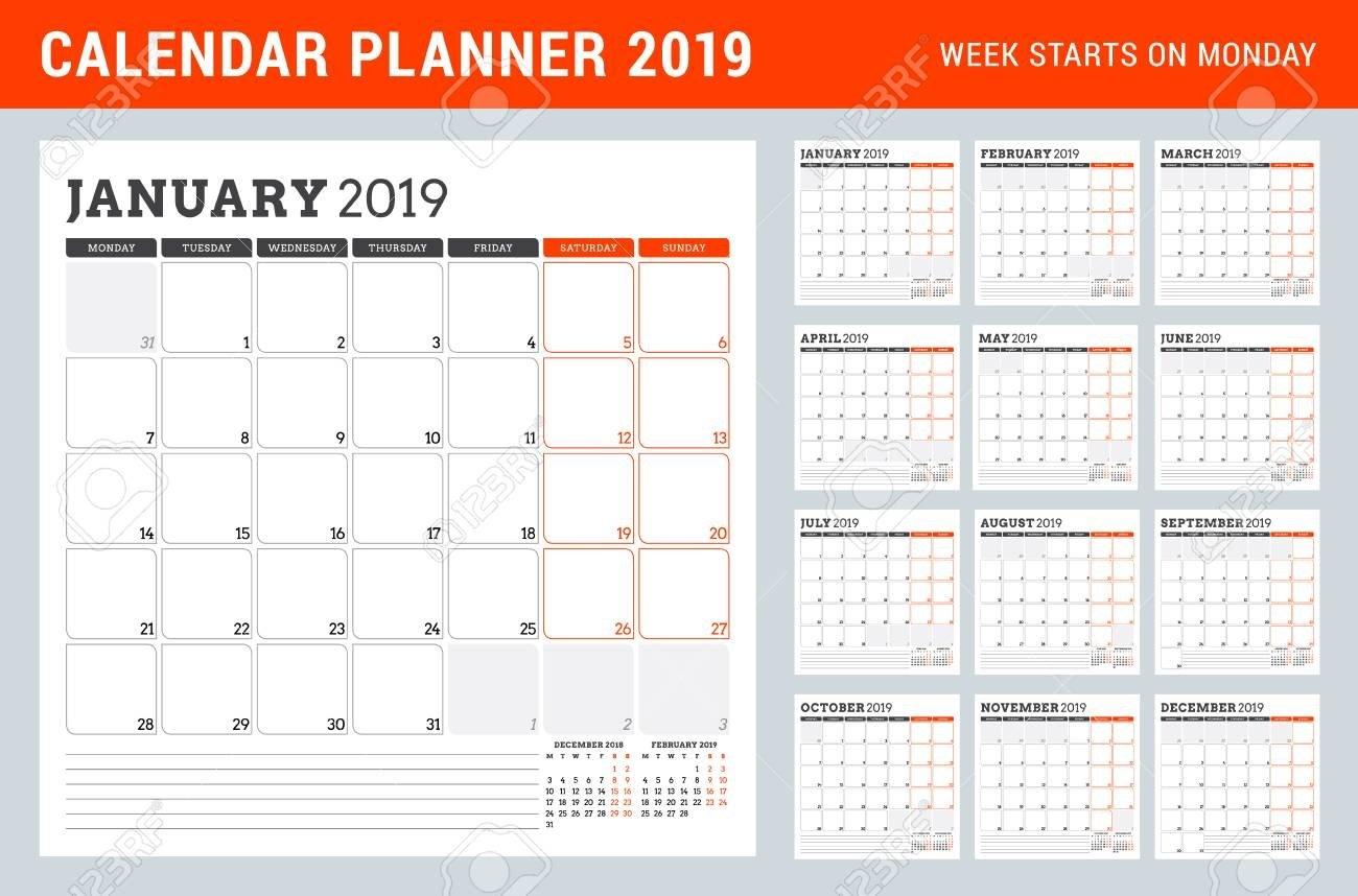 Calendar Planner For 2019 Year. Week Starts On Monday. Set Of Calendar Week 12 2019