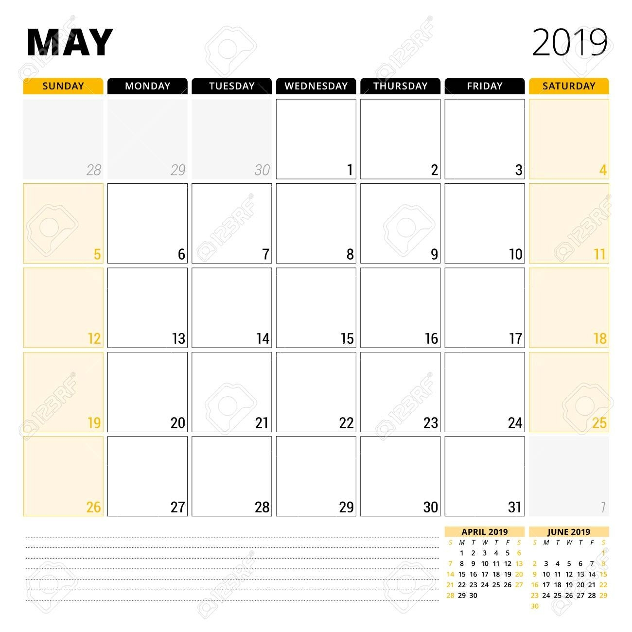 Calendar Planner For May 2019. Stationery Design Template. Week Calendar May 3 2019