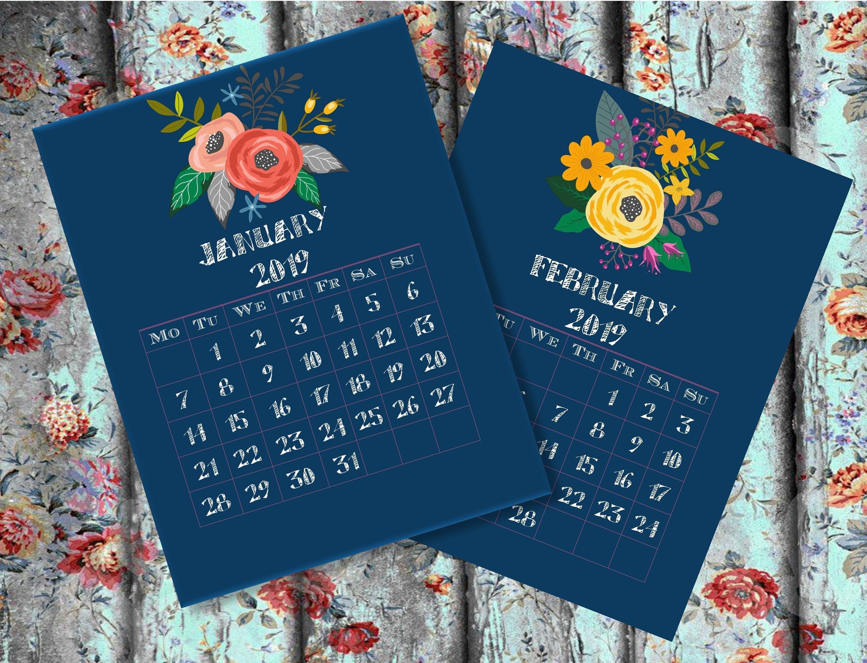 Calendar Printable Monthly Calendar 2019 Desk Calendar 2019 | Etsy Calendar 2019 Vistaprint