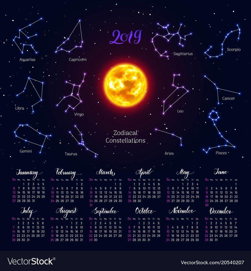 Calendar Sun Zodiac Signs 2019 Night Sky Vector Image 2019 Zodiac Calendar
