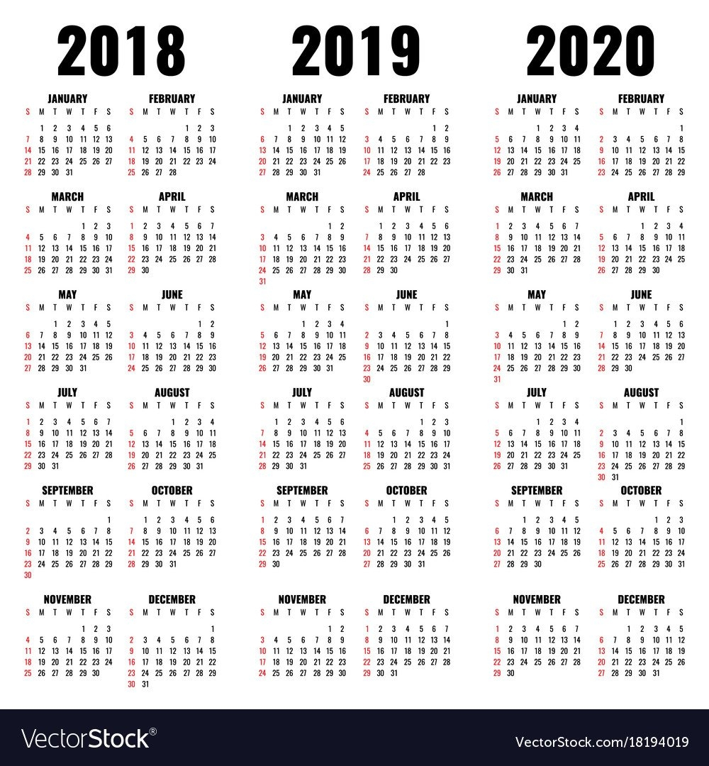 Calendar Template 2018 2019 And 2020 Years Vector Image Calendar 2019 And 2020