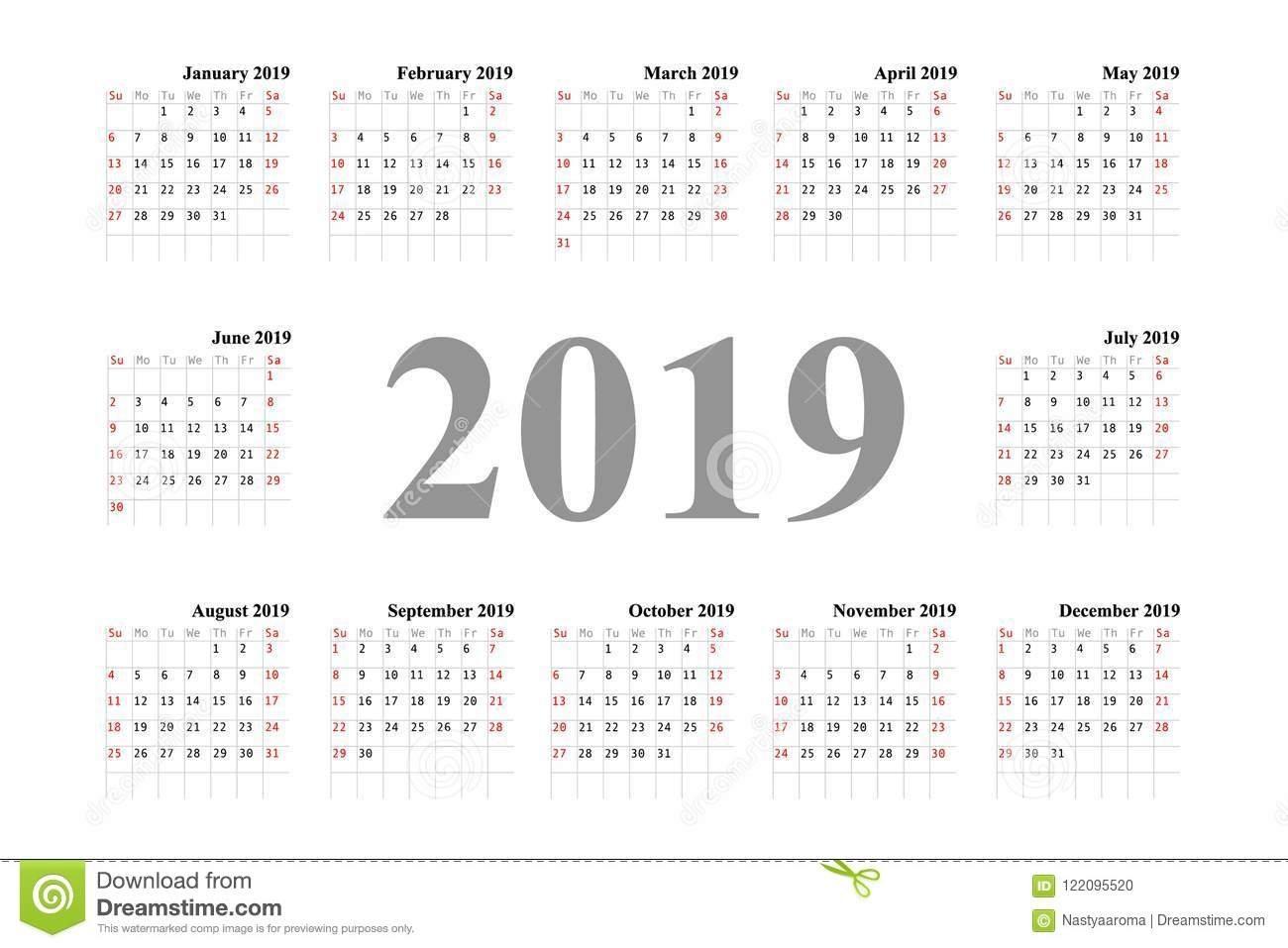 Calendar Template Design 2019 Stock Illustration - Illustration Of Calendar Week 36 2019