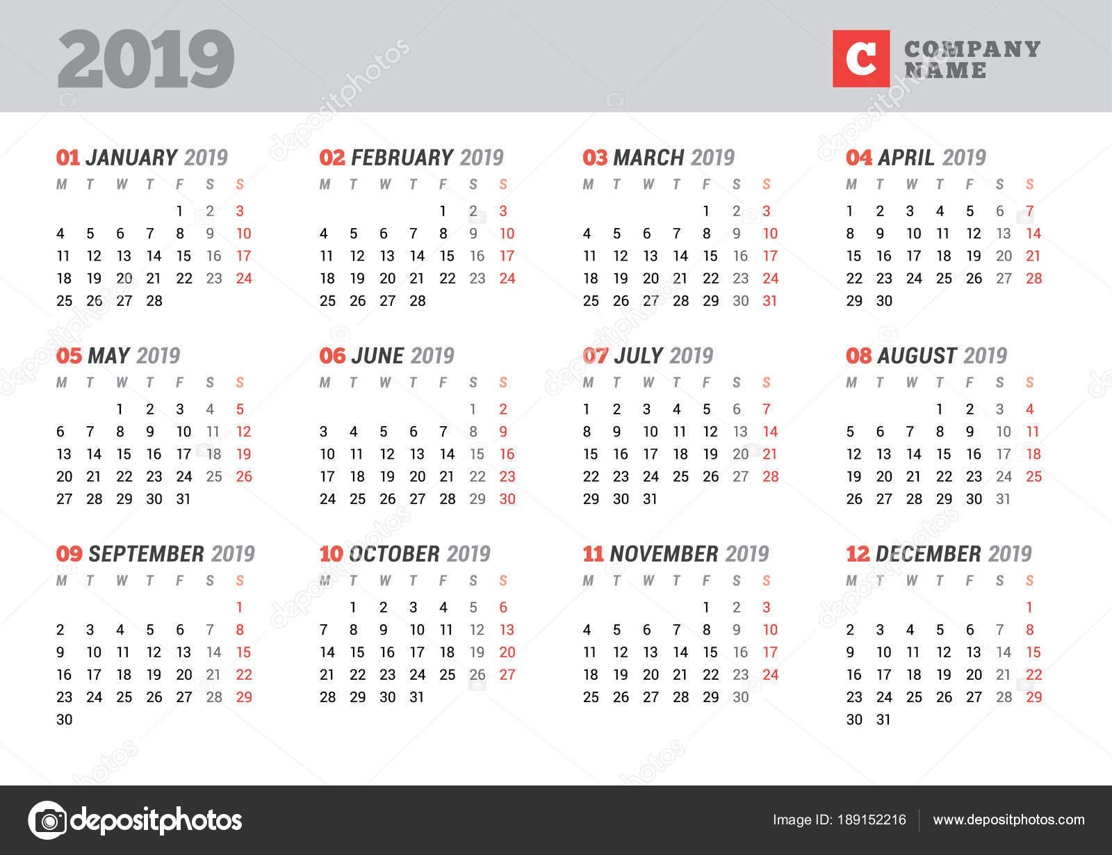 Calendar Template For 2019 Year. Stationery Design. Week Starts On Calendar Week 12 2019