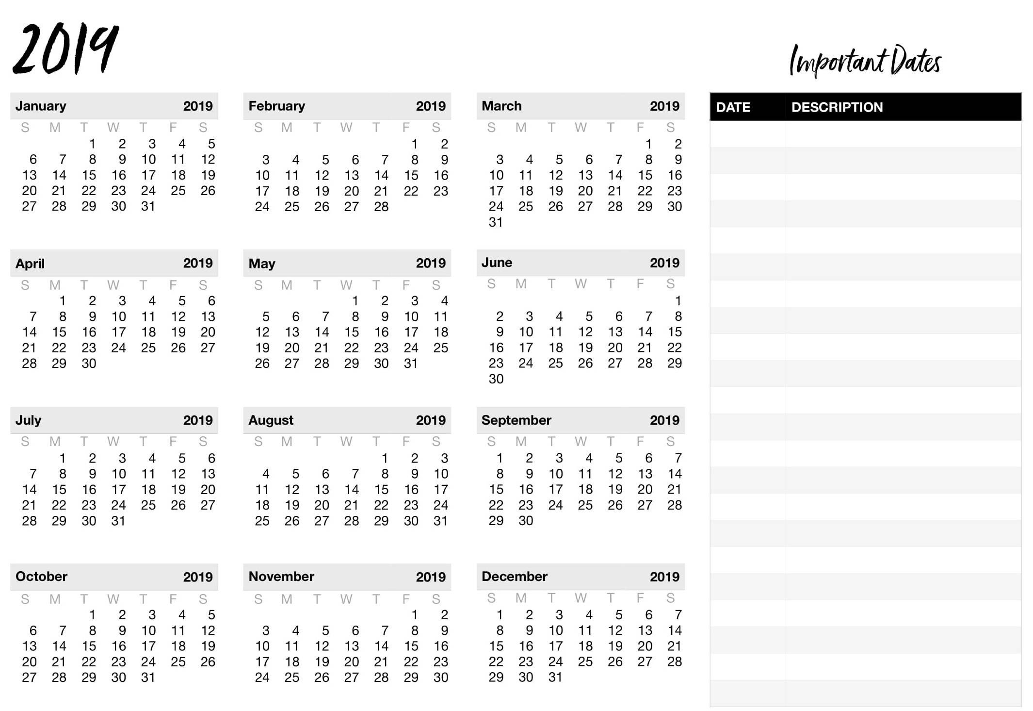 Calendar Template Google Sheets 2019 | Working With Google Docs Calendar 2019 Google