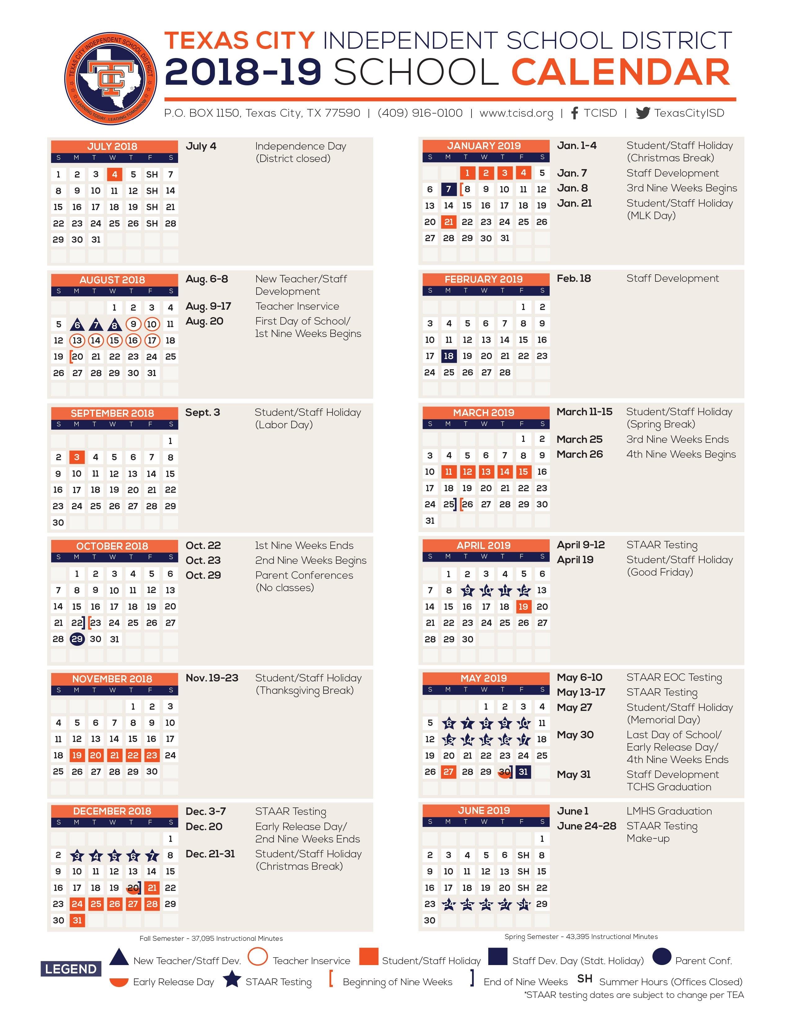 Calendar - Texas City Independent School District U Of H Calendar 2019