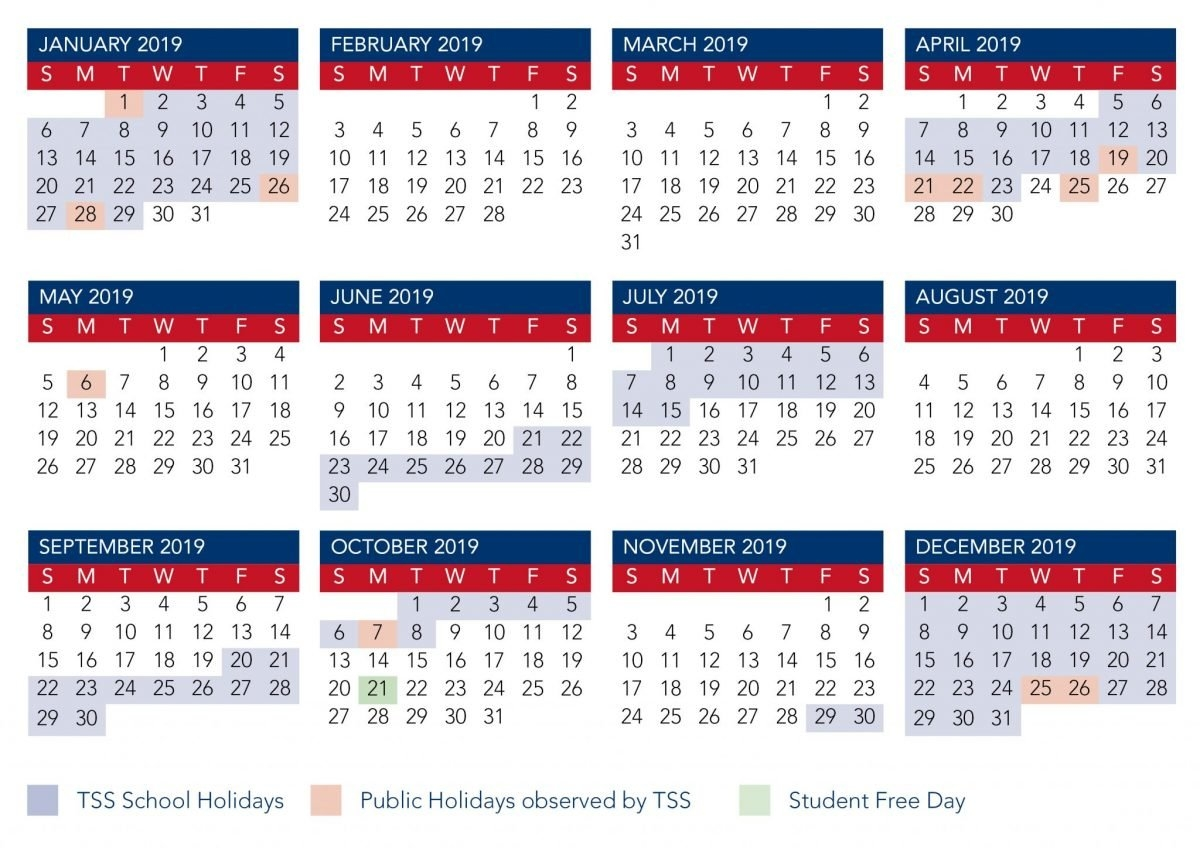 Calendar | The Southport School 2019 Calendar Qld Education