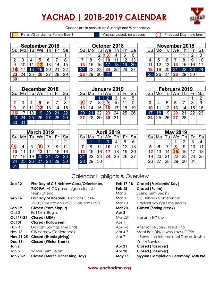 Calendar | Yachad Mn U Of Mn Calendar 2019