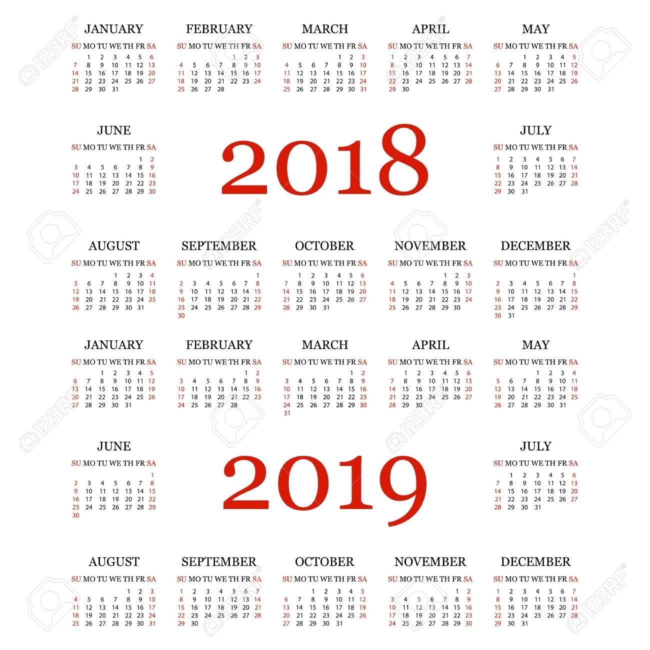 Calendario 2018, 2019. Plantilla De Calendario Simple Para El Año Y 2019 Calendar
