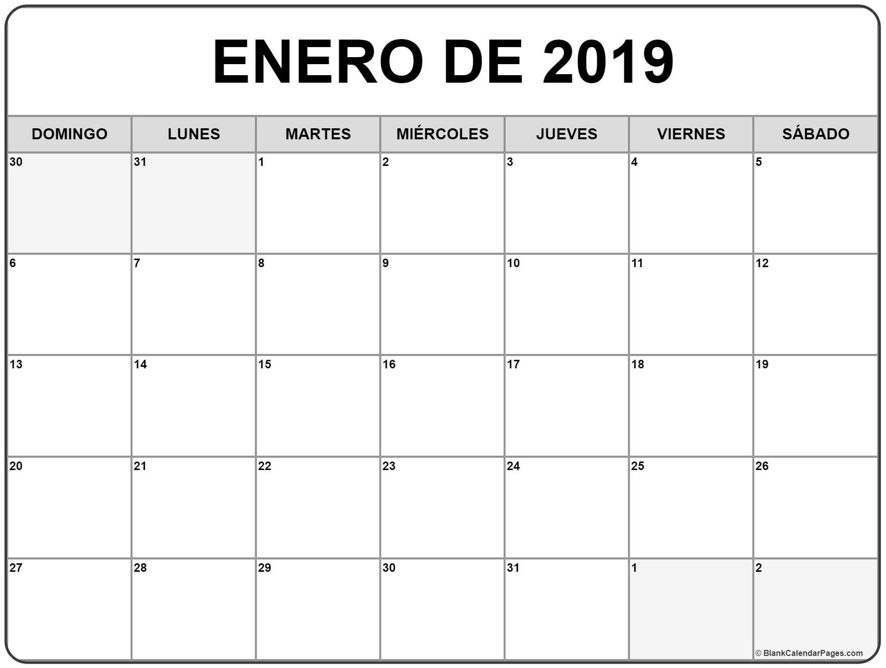 Calendario Enero 2019 | Download 2019 Calendar Printable With Calendar 2019 Enero