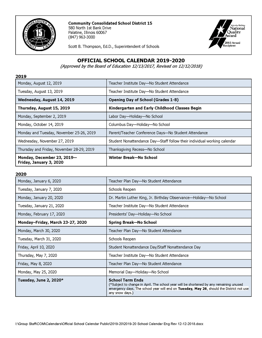 Calendars / 2019-20 Official School Calendar School Calendar 2019-20