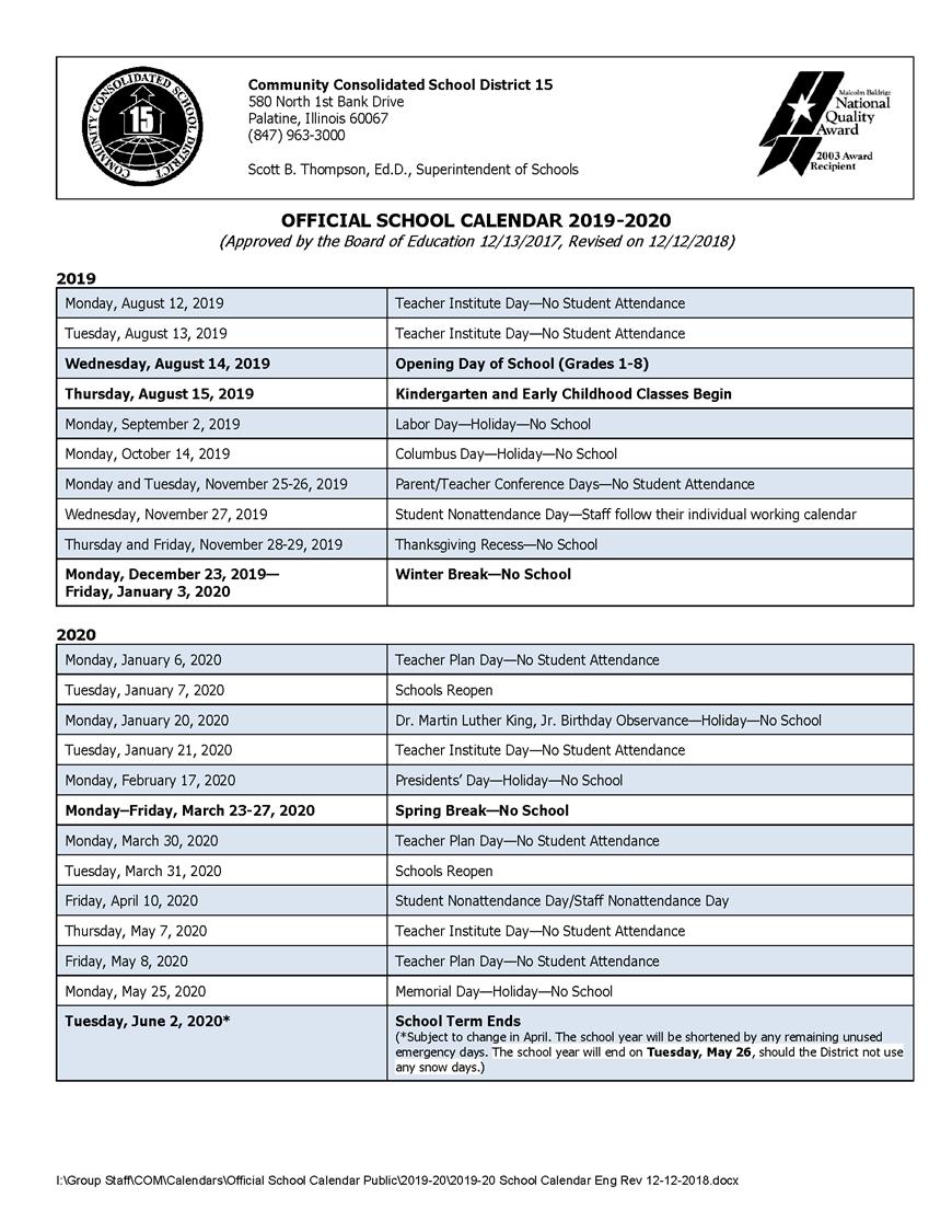 Calendars / 2019-20 Official School Calendar School District 8 2019 Calendar
