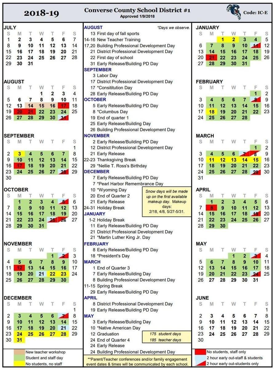 Calendars – Calendar – Converse County School District #1 Ccsd Calendar 2019-20