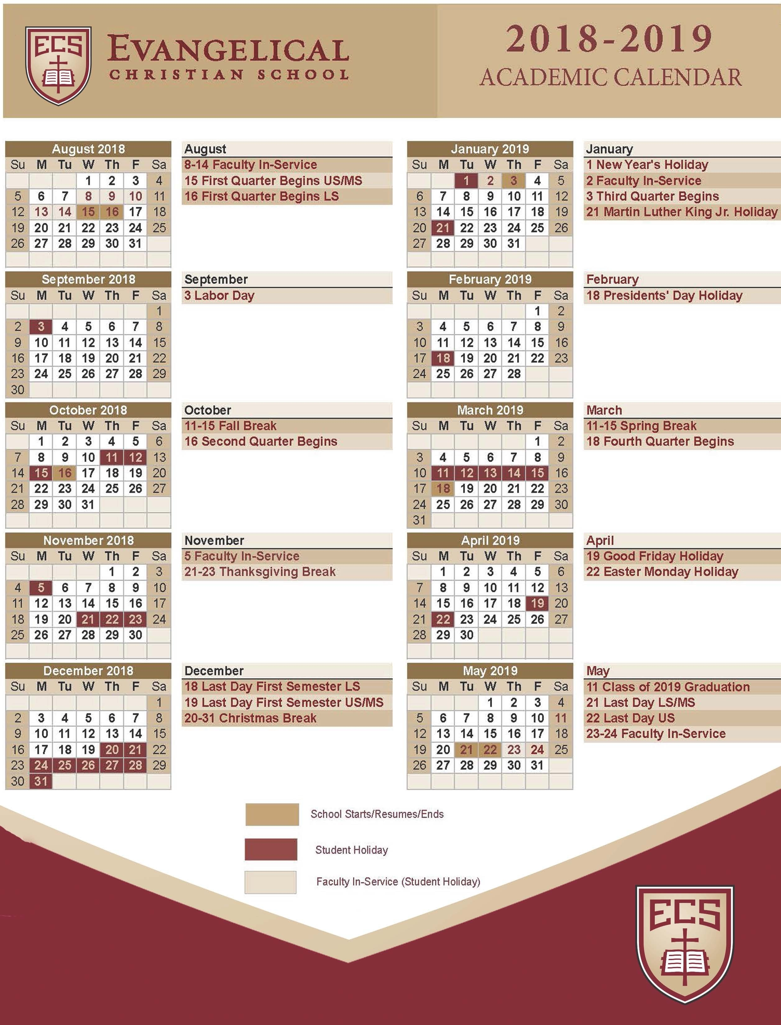 Calendars – Evangelical Christian School Calendar 2019 Christian