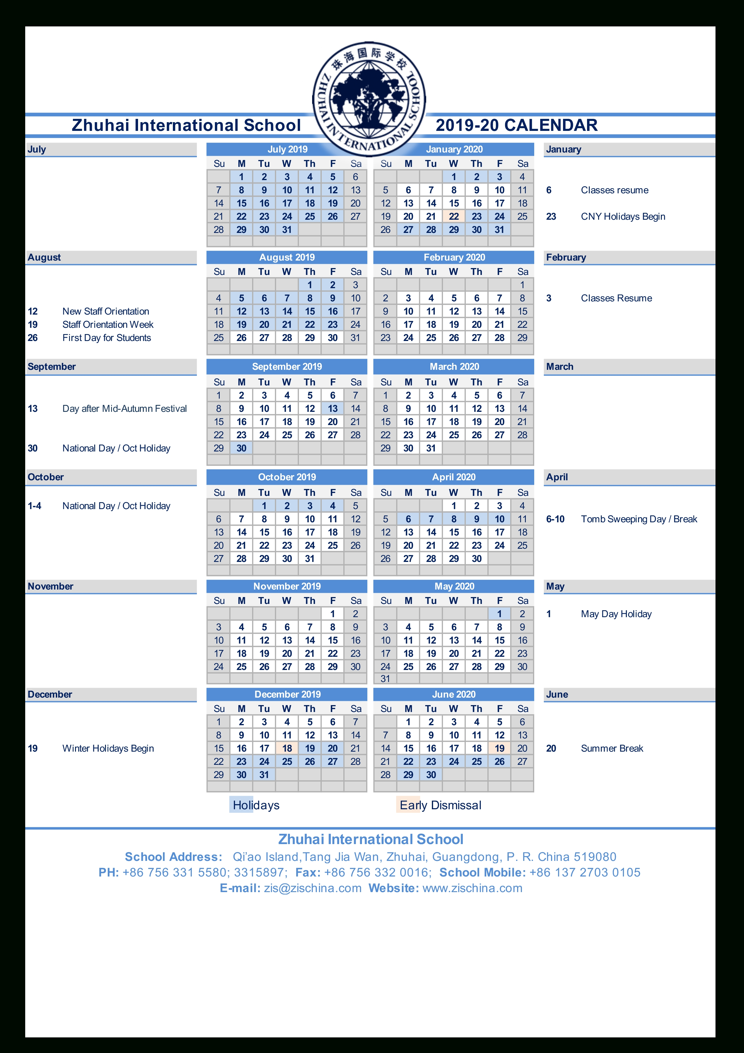 Calendars | Zhuhai International School Zis Calendar 2019