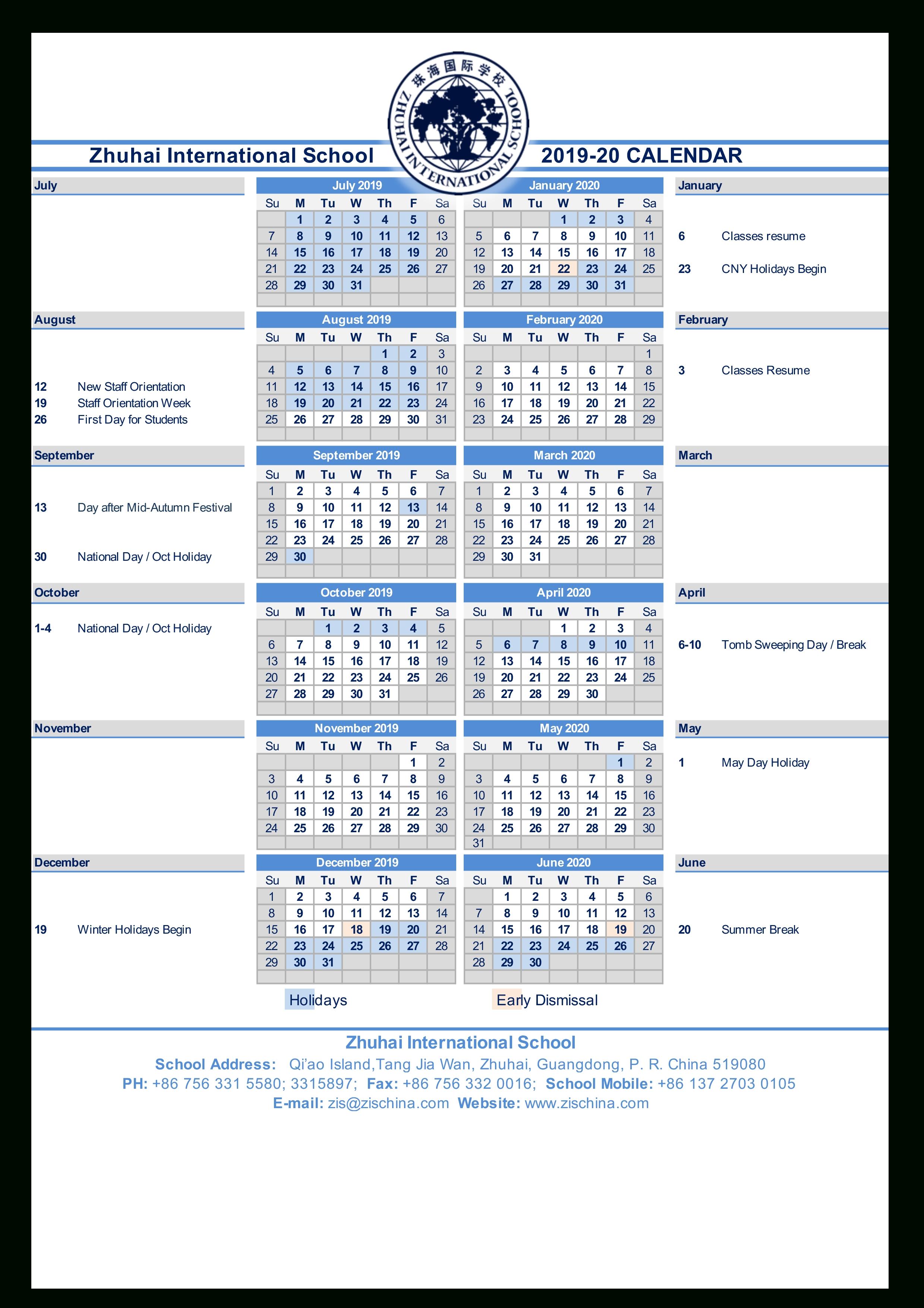 Calendars | Zhuhai International School Zis Calendar 2019