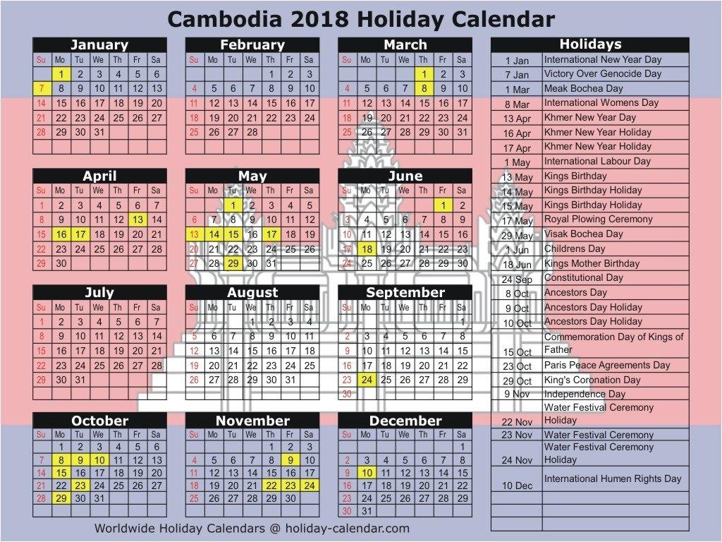 Cambodia 2018 / 2019 Holiday Calendar Calendar 2019 Khmer