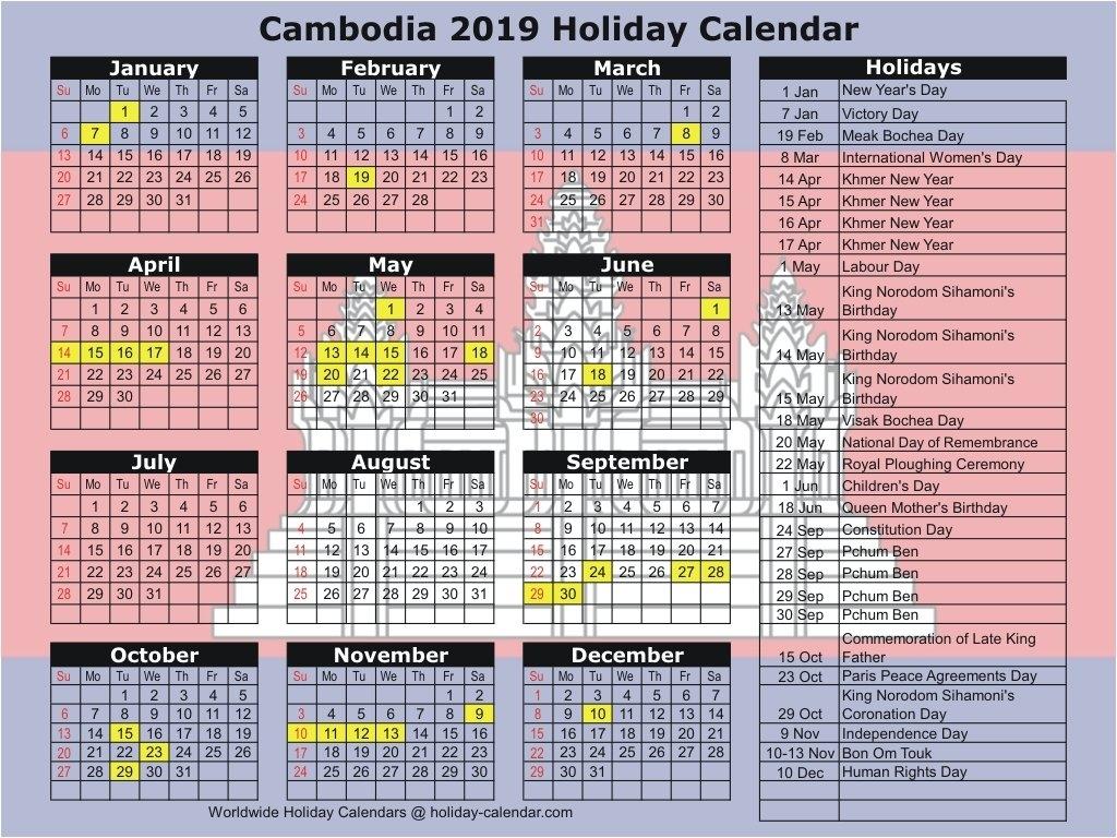 Cambodia 2019 / 2020 Holiday Calendar Calendar 2019 Khmer