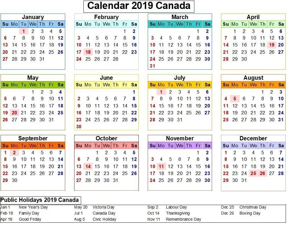 Canada 2019 Calendar With Holiday Colorful. | Calendar 2019 Calendar 2019 Canada Holidays