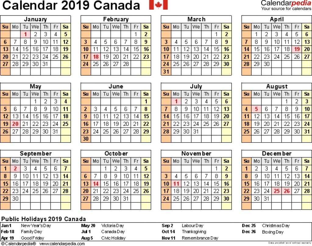 Canada Printable 2019 Calendars 8 X 10 | 2018 Calendar Template Design 8 X 10 2019 Calendar