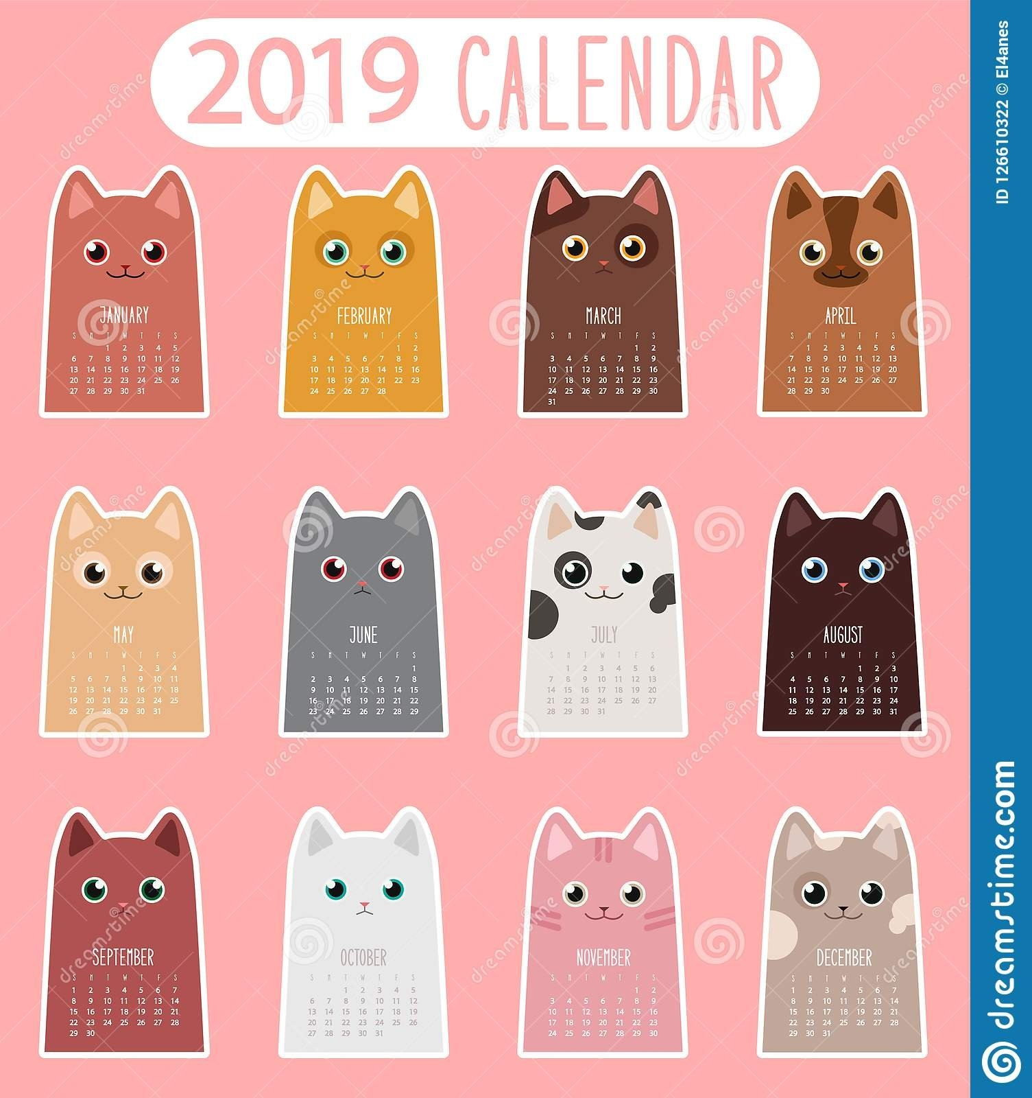 Cat Calendar 2019 Stock Vector. Illustration Of Sticker - 126610322 Calendar 2019 Cats