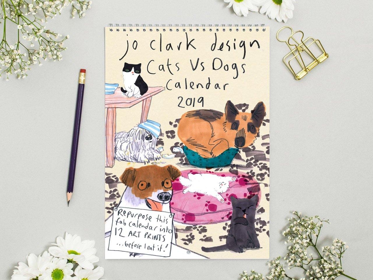 Cats Vs Dogs Calendar 2019 - Jo Clark Design Calendar 2019 Dogs