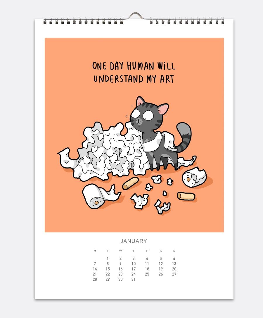 Cats Wall Calendar 2019 | Lingvistov - Online Store Calendar 2019 Cats