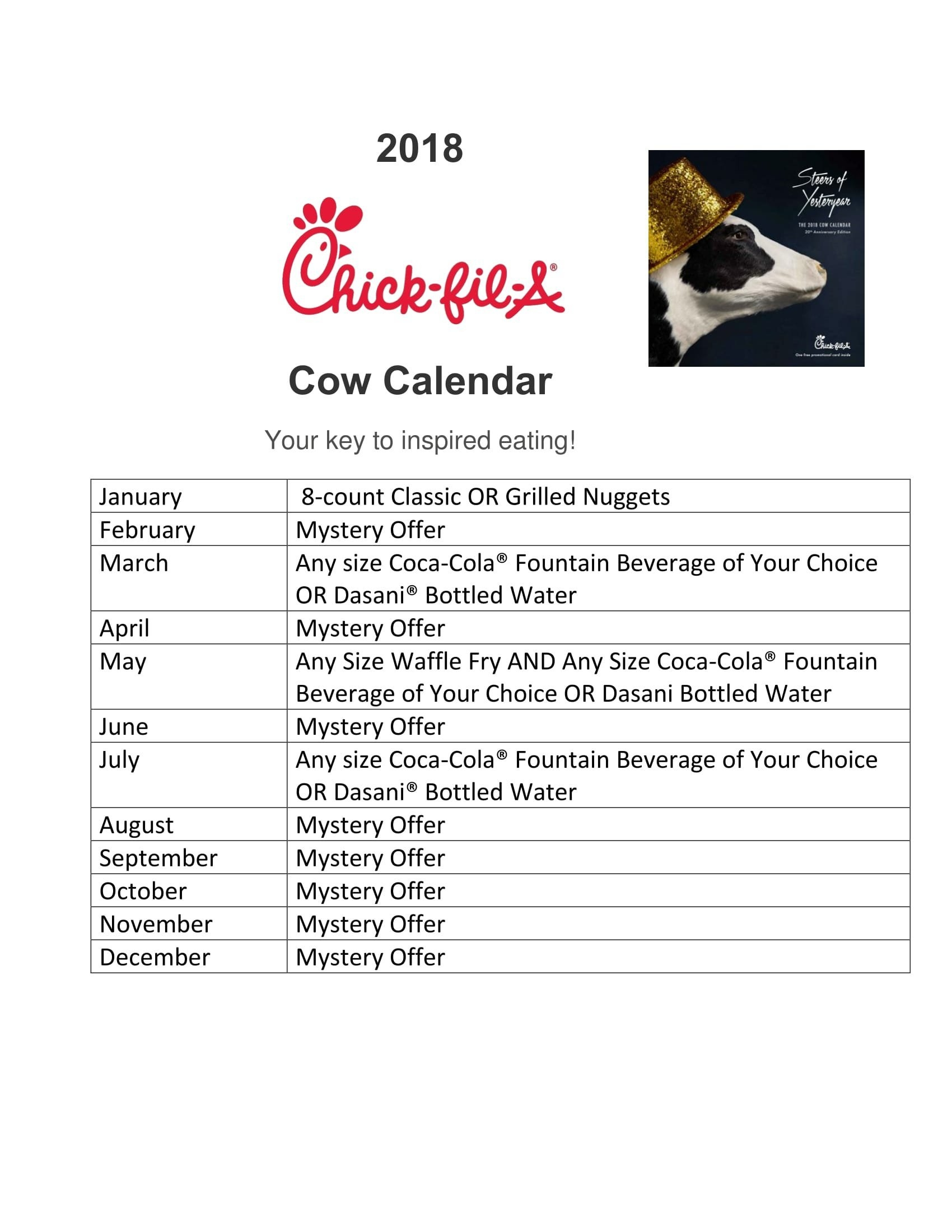 Cfa 2019 Calendar To Download Or Print | Americanwomanmag Chick Fil A Calendar 2019