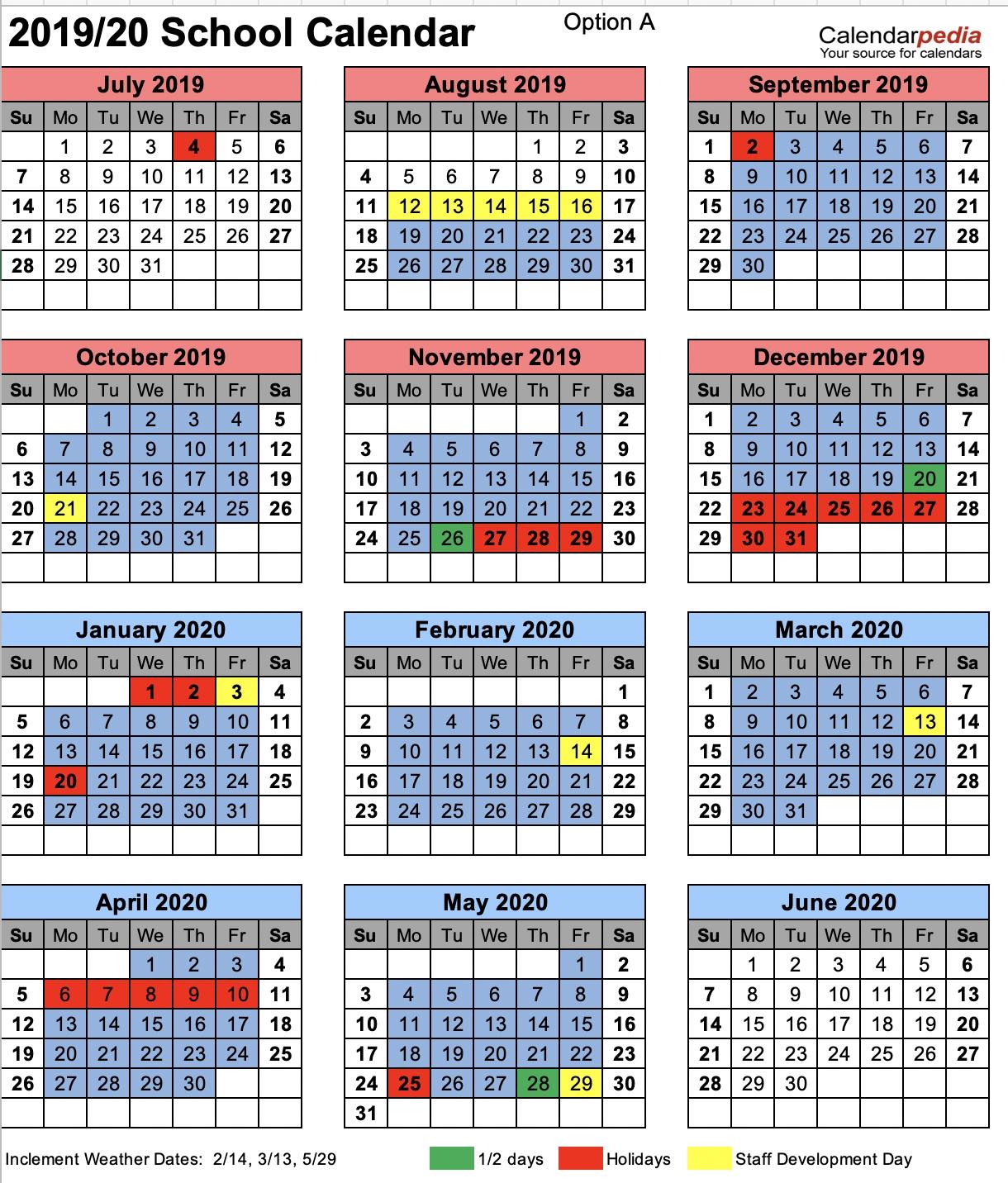 Chesterfield County School District Ccsd Calendar 2019-20