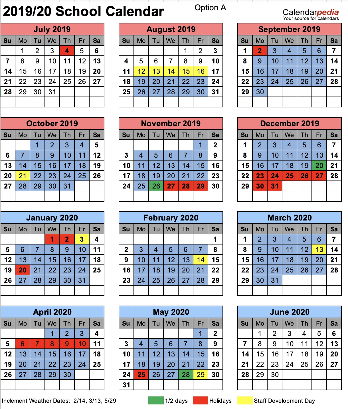 Chesterfield County School District Virginia Tech Academic Calendar 2019-20