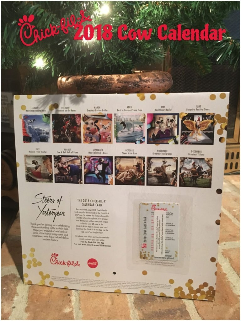 Chick Fil A 2017 Calendar Card To Download Or Print Chick Fil A Calendar 2019