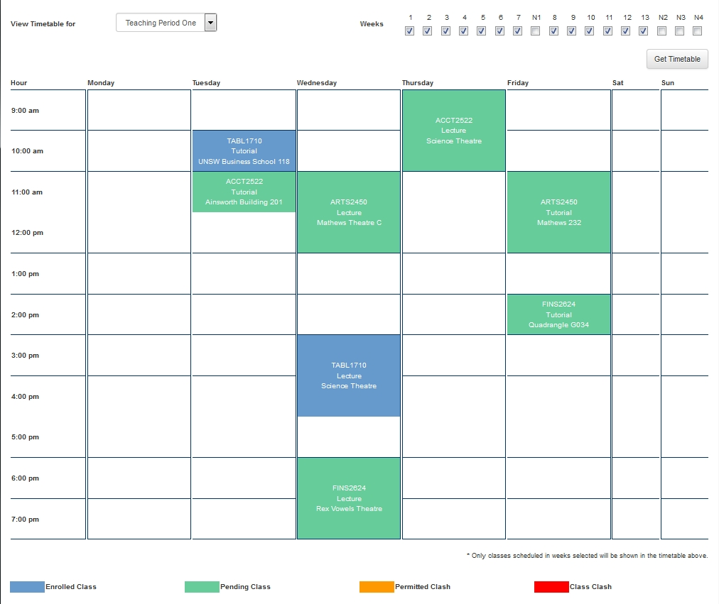 Class Timetable Guide | Unsw Current Students Unsw 3+ Calendar 2019