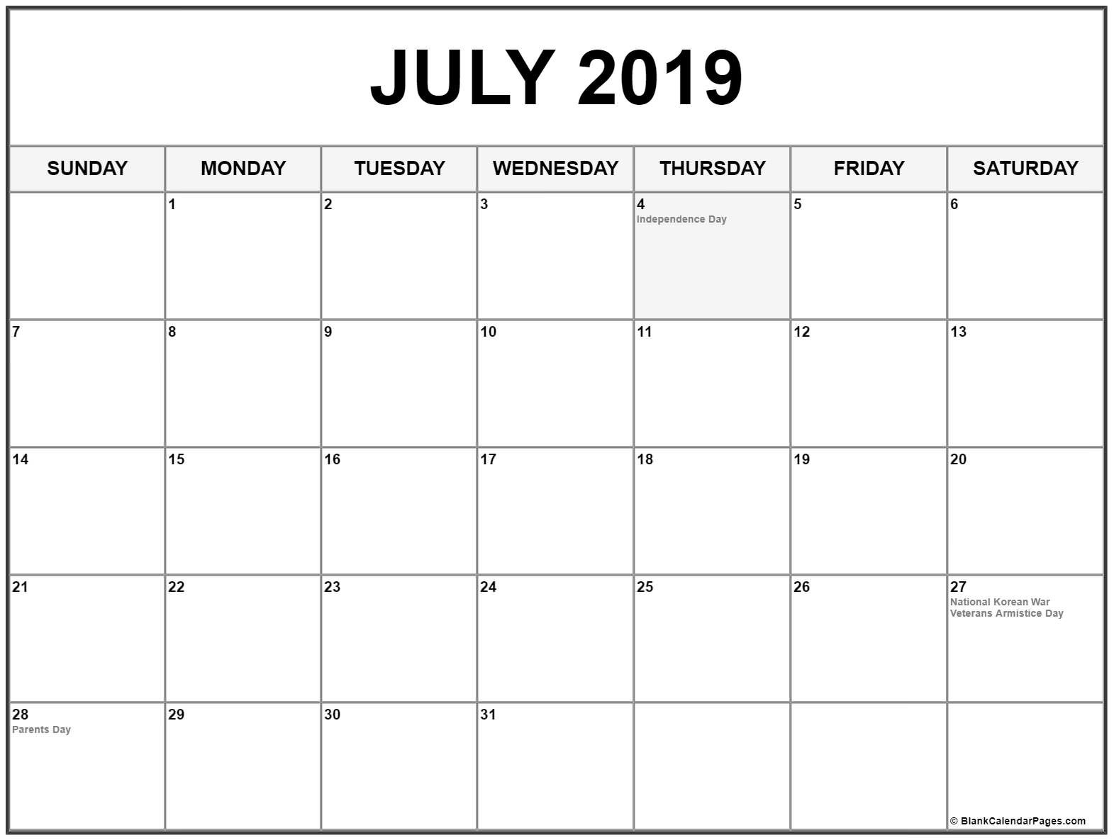 Collection Of July 2019 Calendars With Holidays July 2019 Calendar