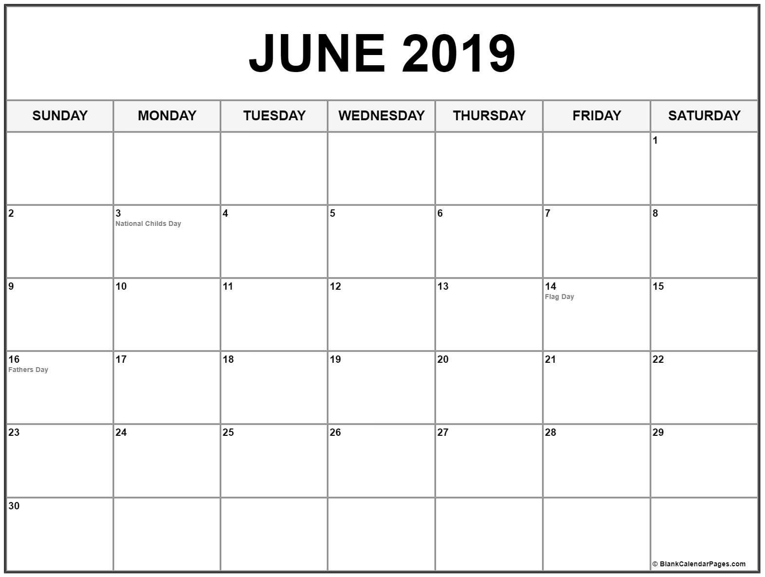 Collection Of June 2019 Calendars With Holidays Calendar 2019 June