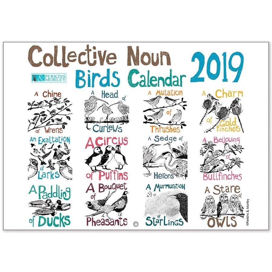 Collective Noun Bird Calendar 2019 - Perkins And Morley Shop Calendar 2019 Birds