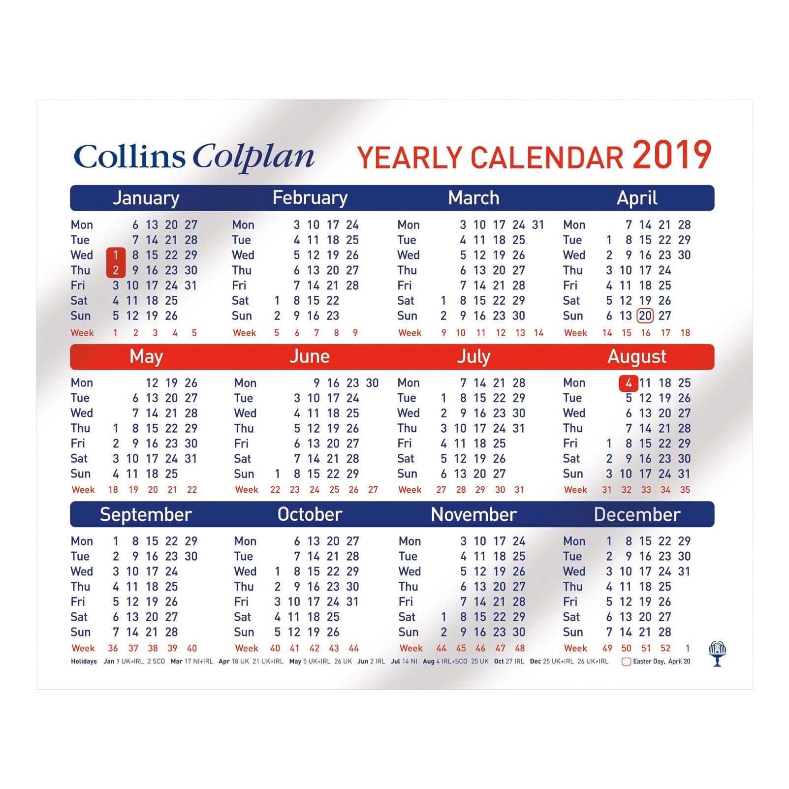 Collins 2019 Yearly Calendar For Wall Or Desktop Landscape 210X260Mm Calendar 2019 Ireland