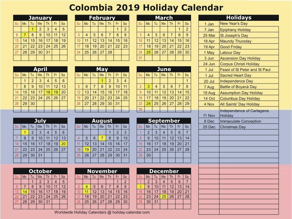 Colombia 2019 / 2020 Holiday Calendar Calendar 2019 Colombia