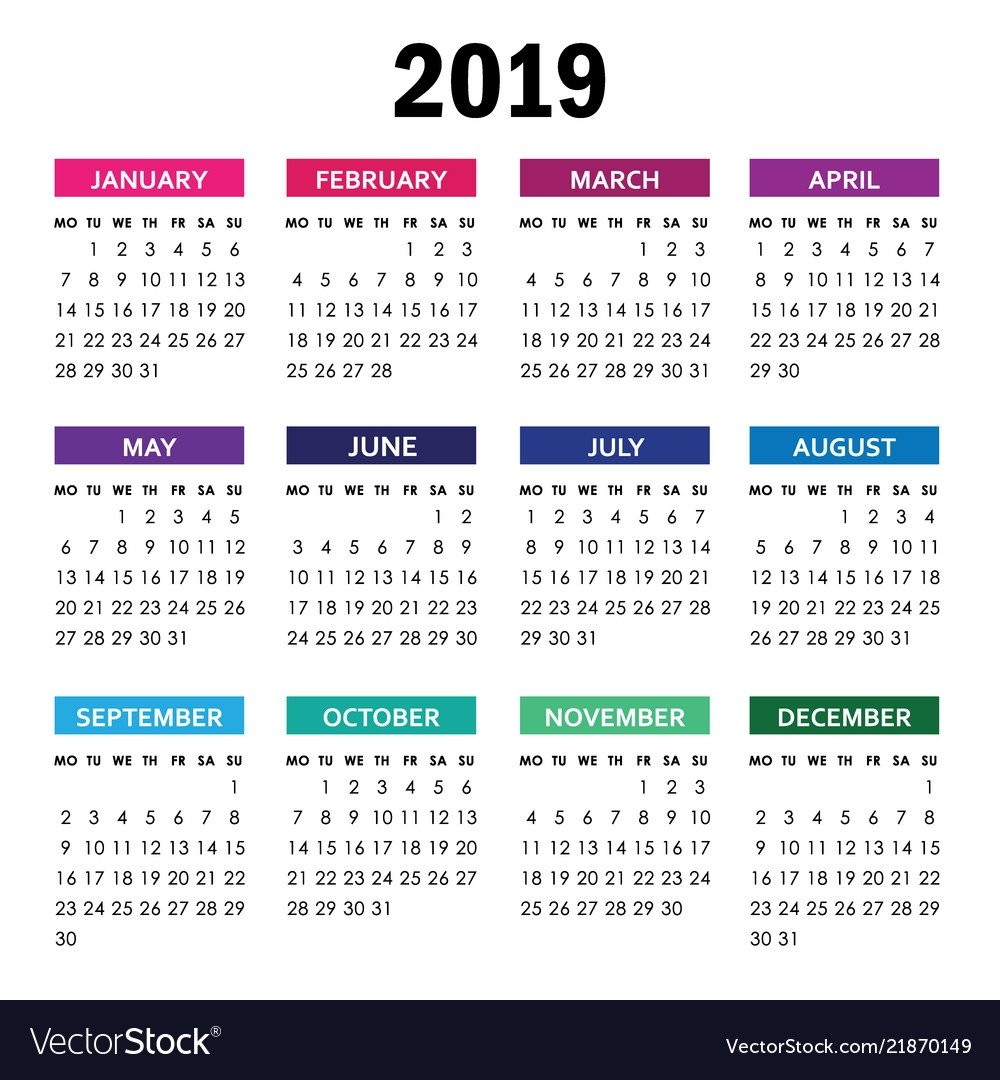 Colorful Calendar For 2019 Year Week Starts Vector Image Calendar Week 49 2019