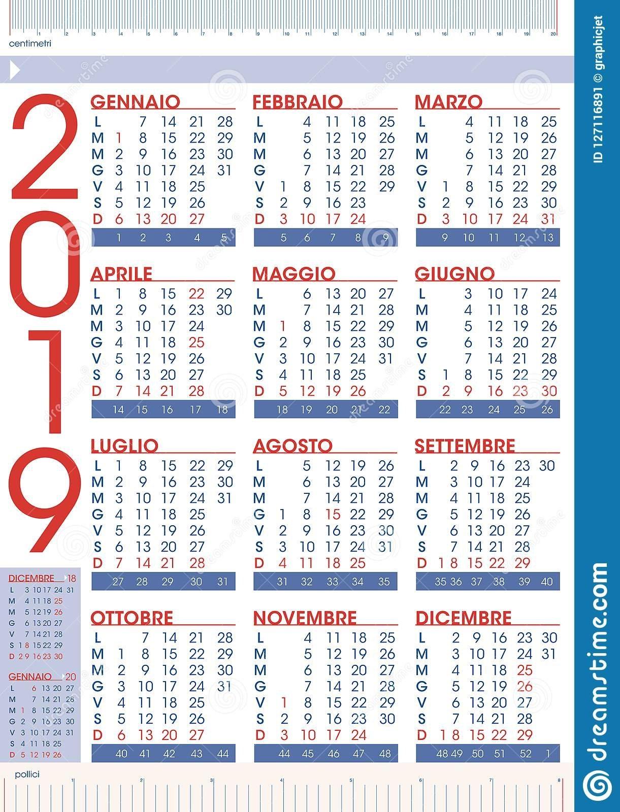 Commercial 2019 Rules Calendar For Italy Stock Vector - Illustration Calendar 2019 Italy