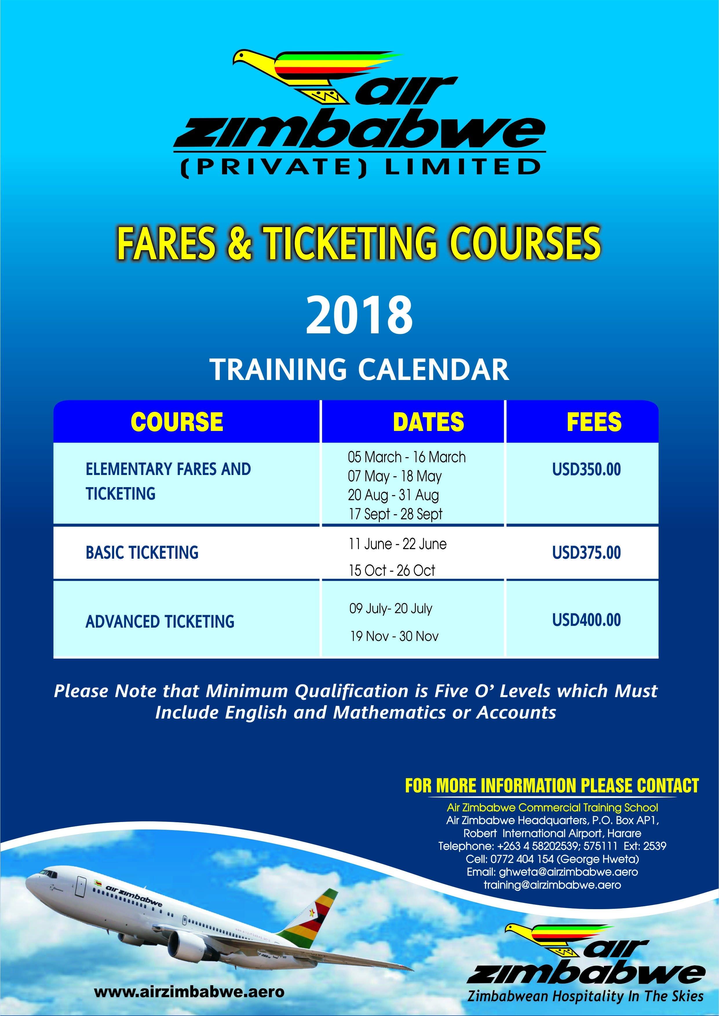 Commercial Training School | Air Zimbabwe School Calendar 2019 Zimbabwe