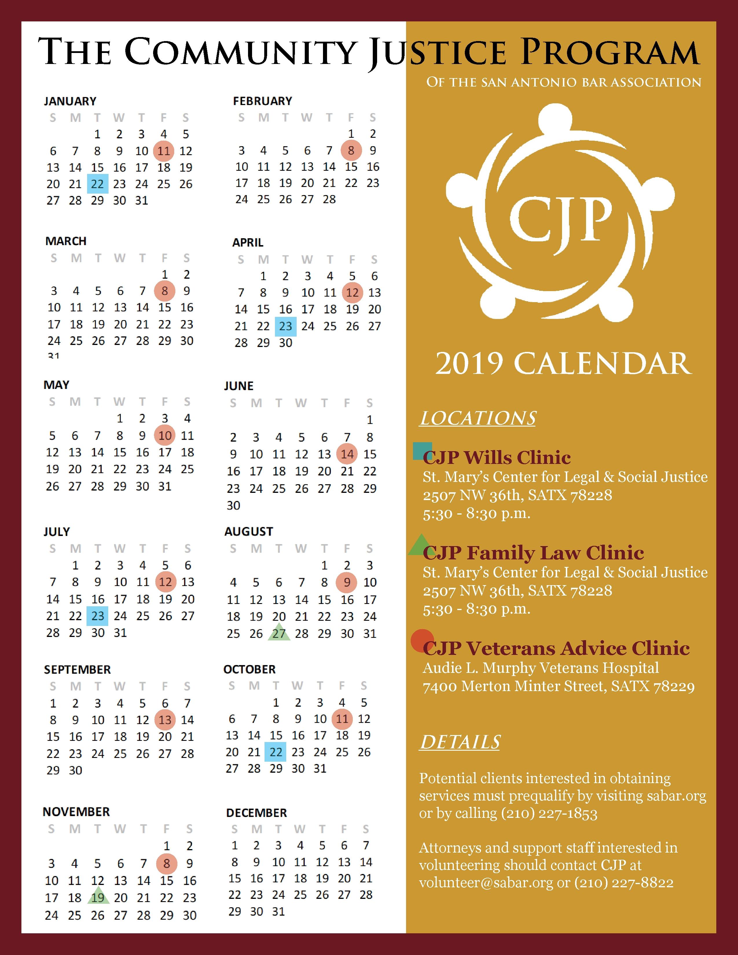 Community Justice Program 2019 Clinic Calendar - San Antonio Bar P 2019 Calendar