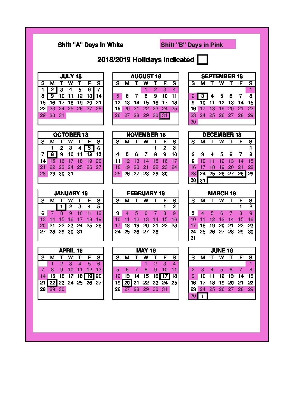 Copy Of 2018 – 2019 Shift Calendar – Unifor 88 3 Shift Calendar 2019