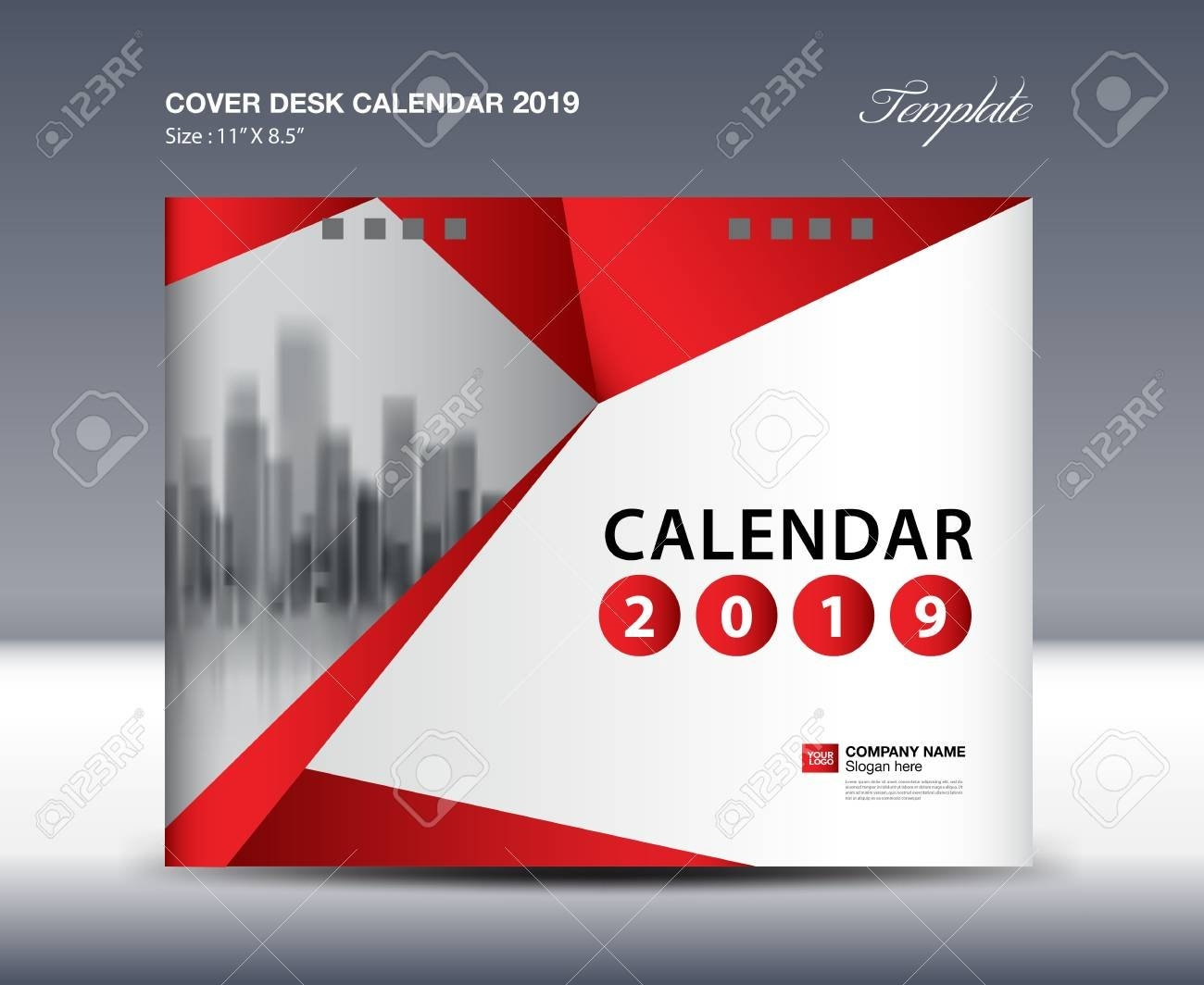 Cover Desk Calendar 2019 Design, Flyer Template, Ads, Booklet Calendar 2019 Design