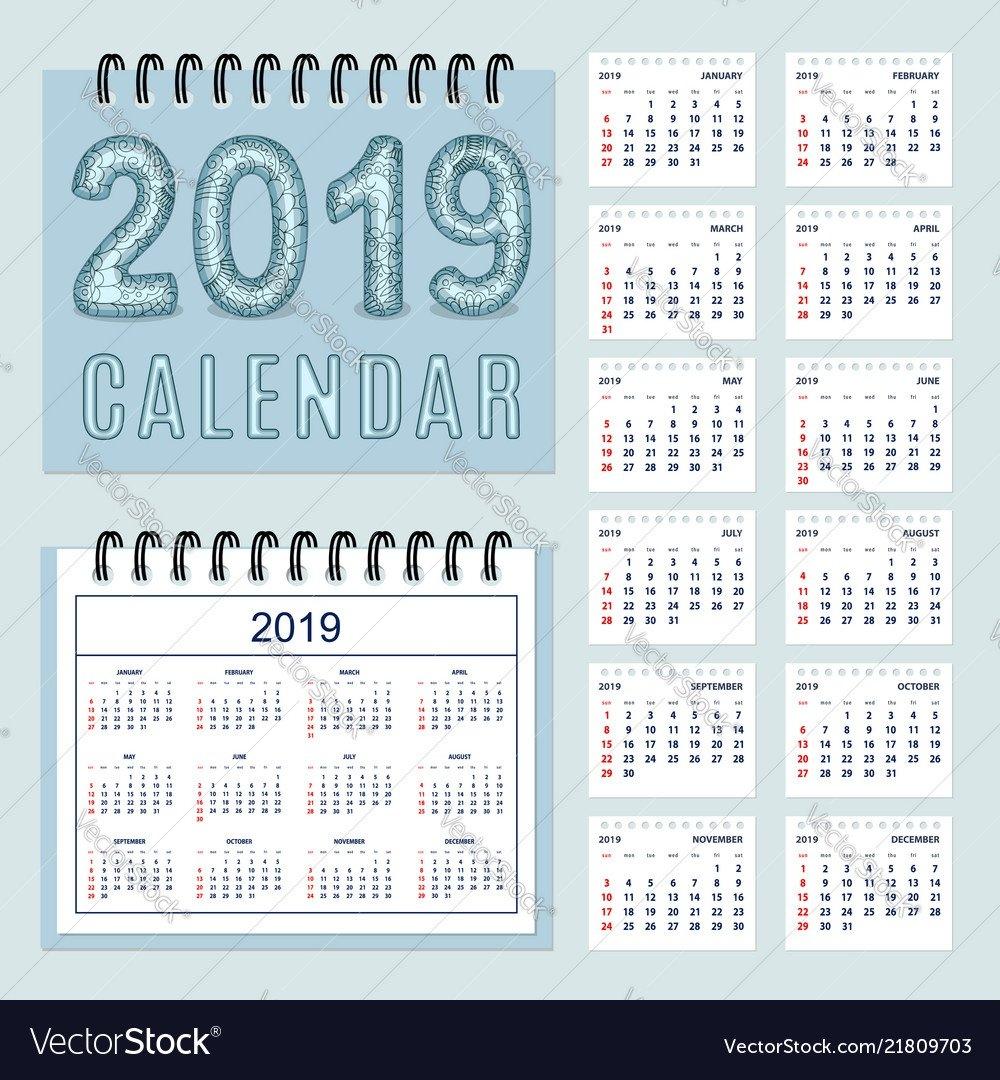 Creative Calendar With Zen Patterned Number 2019 Vector Image 2019 Calendar Zen