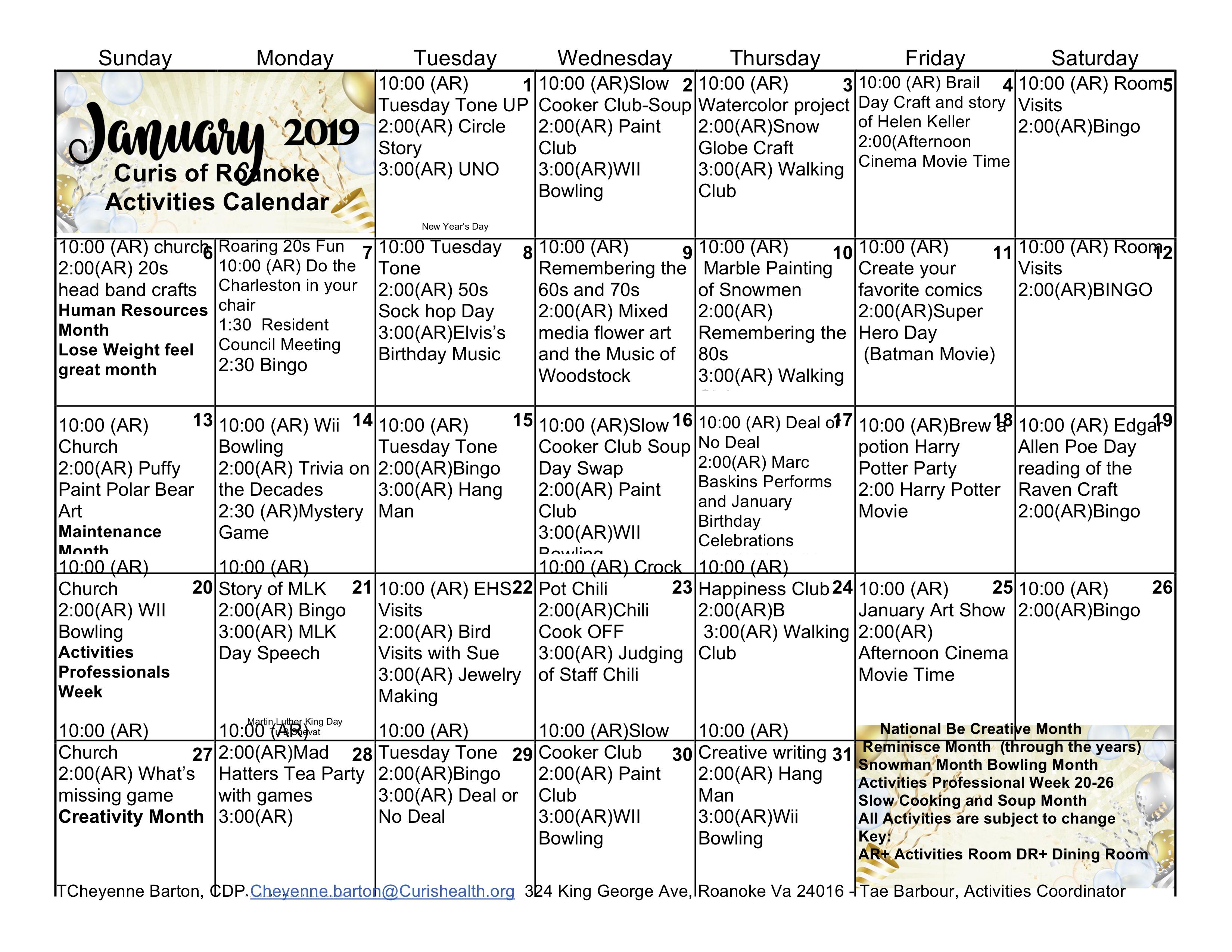 Curis Roanoke Activities Calendar January 2019 - Curis Roanoke 2019 Calendar 80S