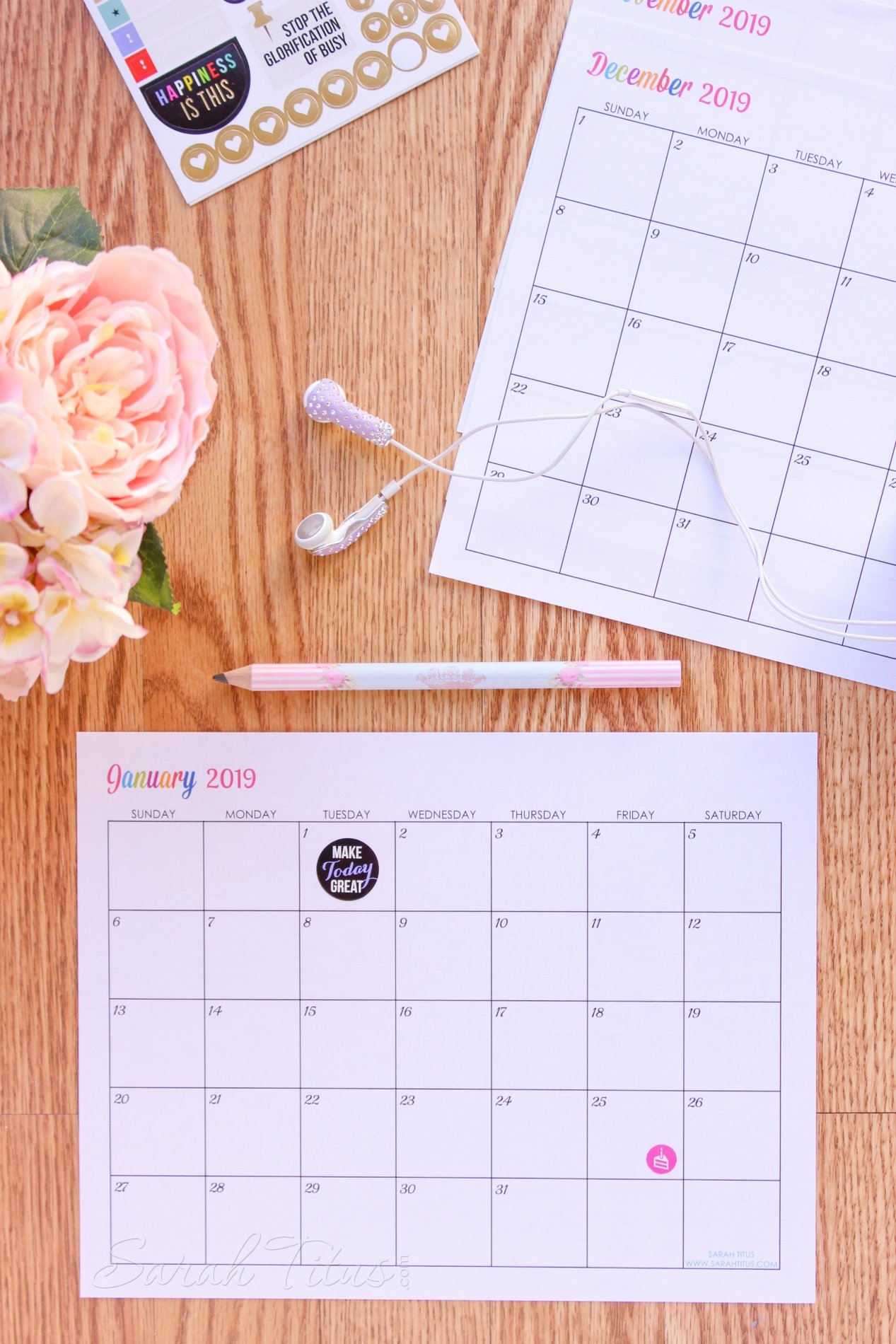 Custom Editable Free Printable 2019 Calendars - Sarah Titus Calendar 2019 Custom