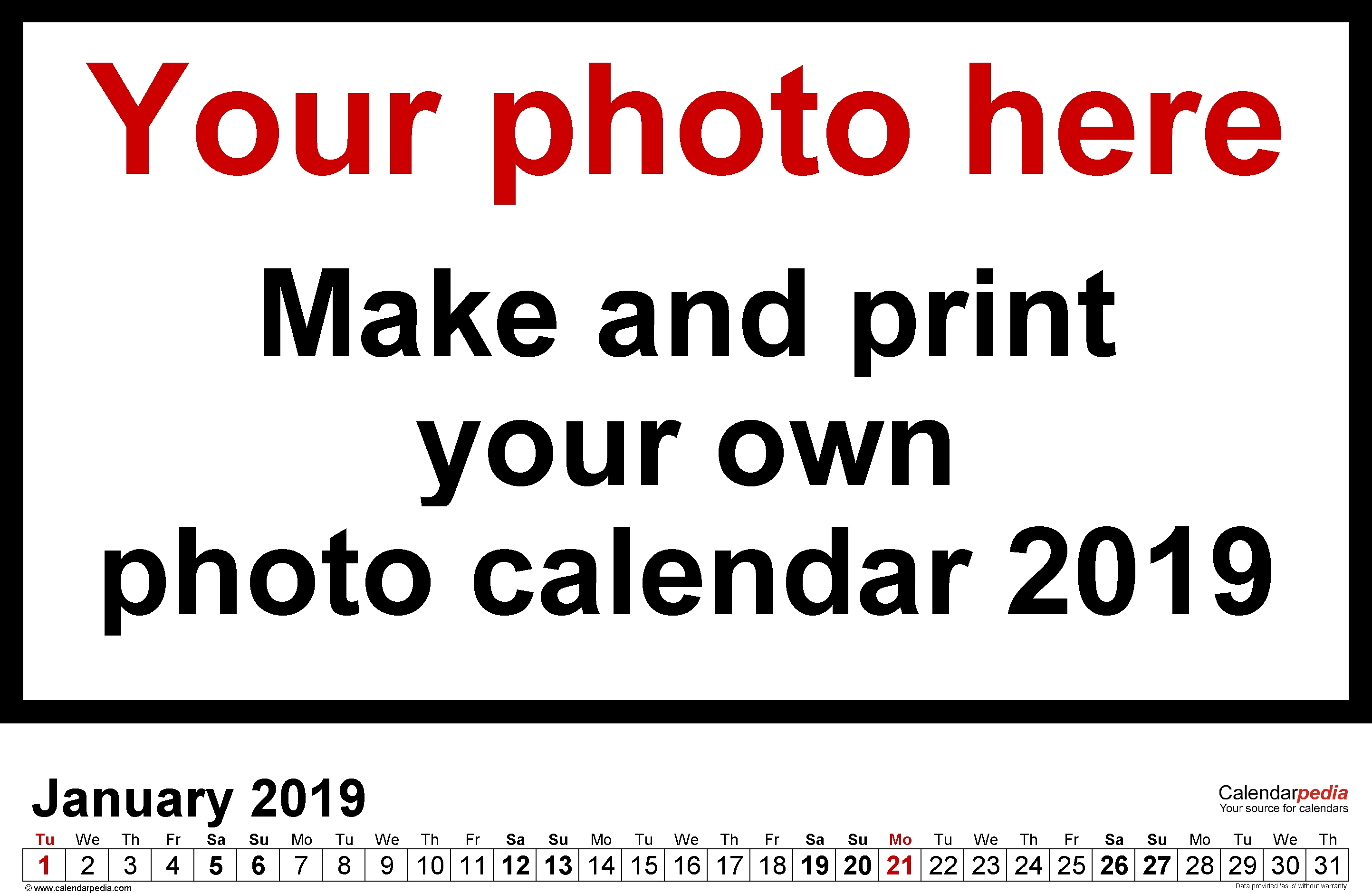 Custom January 2019 Personalized Calendar | January 2019 Calendar Calendar 2019 Custom