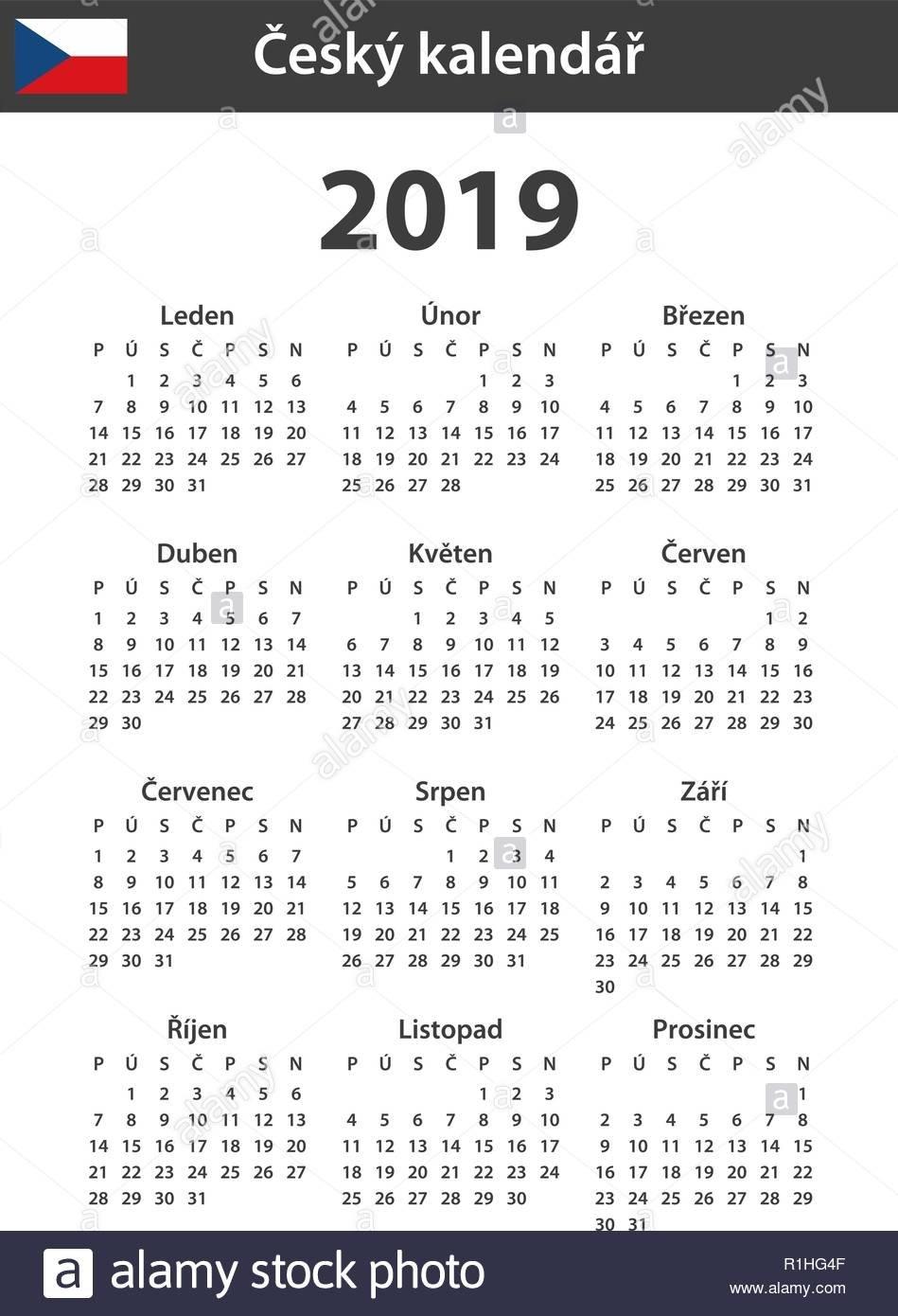 Czech Calendar For 2019. Scheduler, Agenda Or Diary Template. Week P 2019 Calendar