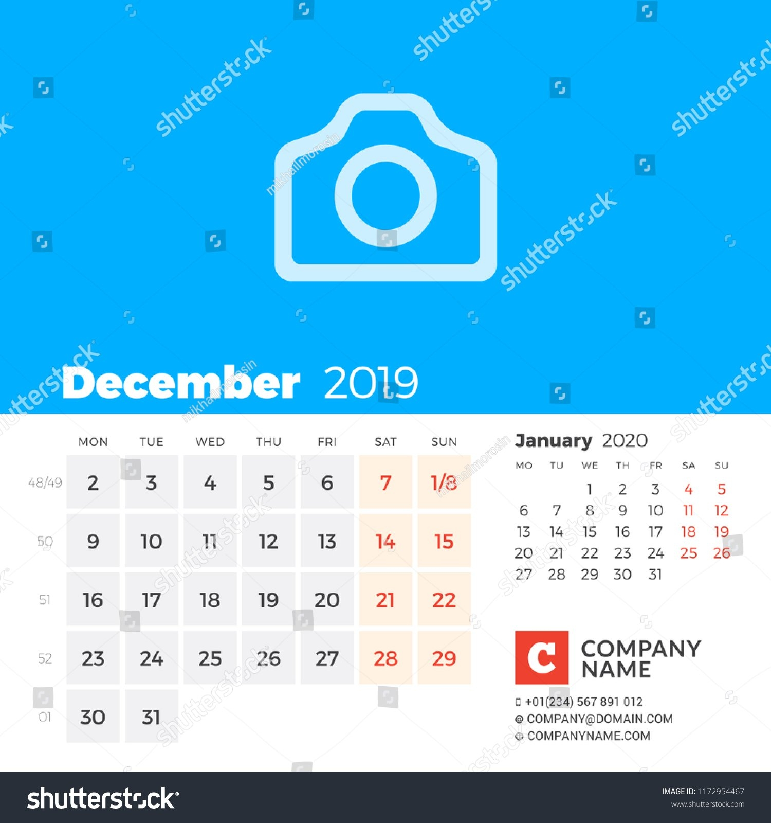 December 2019 Calendar 2019 Year Week Stock Vector (Royalty Free Calendar Week 49 2019