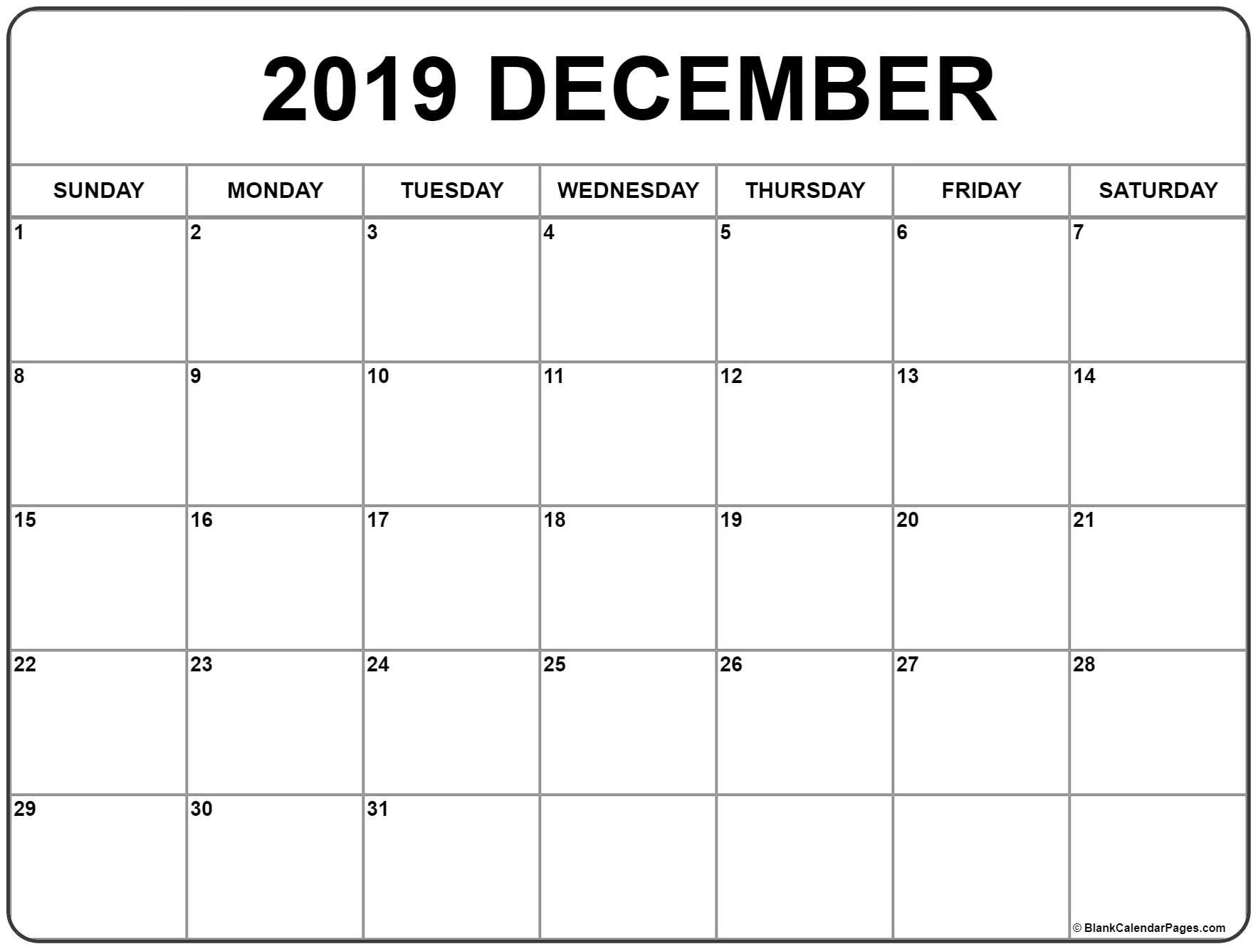 December 2019 Calendar | 56+ Templates Of 2019 Printable Calendars Calendar 2019 December